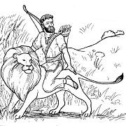 """דפי צביעה לילדים לל""""ג בעומר:  בר כוכבא רכוב על אריה"""