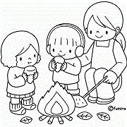 """דפי צביעה לילדים לל""""ג בעומר: 3 ילדים ליד מדורה"""