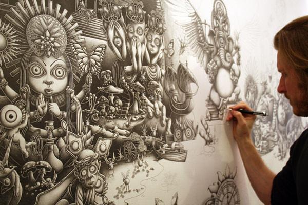 רצף תמונות מרהיב של צייר בפעולה!
