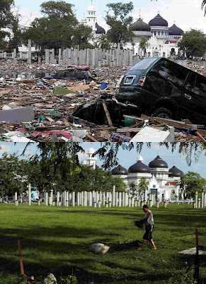 לפני ואחרי - תמונות של אסונות