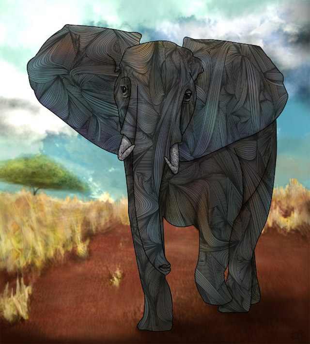 ציורים מדהימים של חיות בצורות גאומטריות