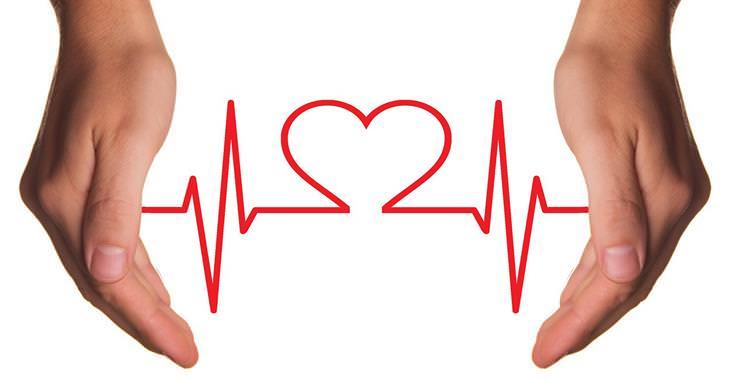 7 דרכים להגברת רמות הכולסטרול הטוב: זוג ידיים שביניהן קו מוניטור לב שיוצר צורה של לב במרכזו