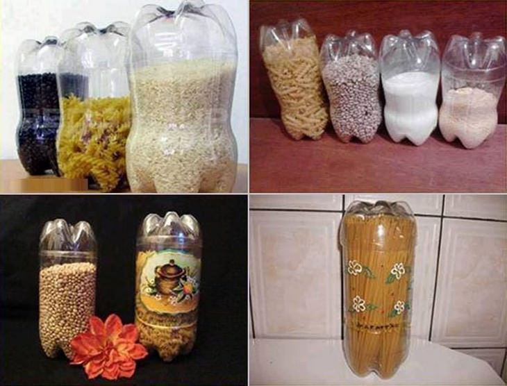 בקבוקי פלסטיק עם אורז ופסטה