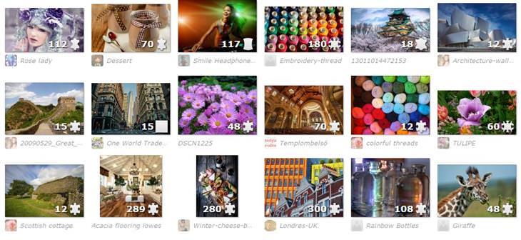 Jigsaw Planet: צילום מסך של האתר