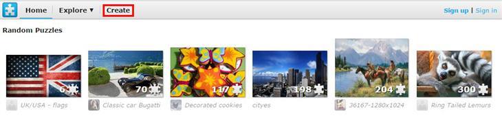 Jigsaw Planet: צילום מסך מהאתר