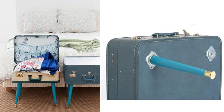 שדרוגים מיוחדים לרהיטים ישנים: מתקן אחסון המורכב ממזוודה ו-4 רגליים