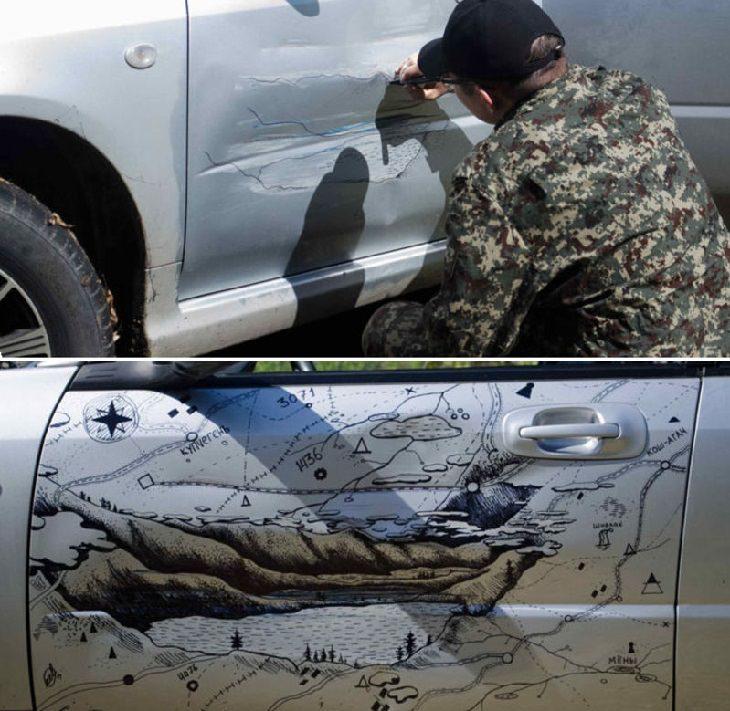 ציור נוף על שקע בדלת של רכב