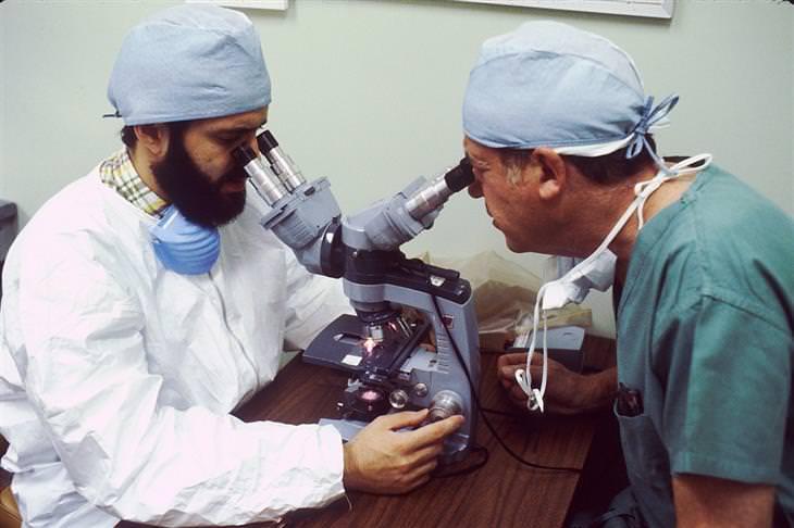 הסיכון בצריכת אספרטם: שני רופאים מסתכלים בתוך מיקרוסקופ