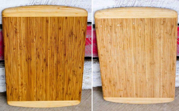 טיפים להסרת כתמים ממוצרים בבית: קרש חיתוך מעץ לפני ואחרי ניקיון