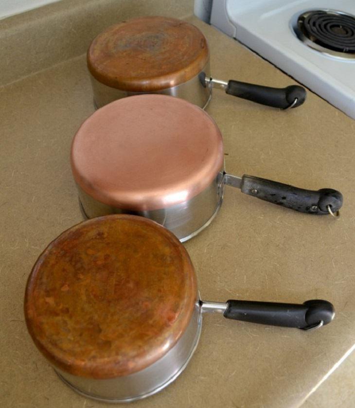 טיפים להסרת כתמים ממוצרים בבית: סיר נחושת לפני ואחרי ניקיון