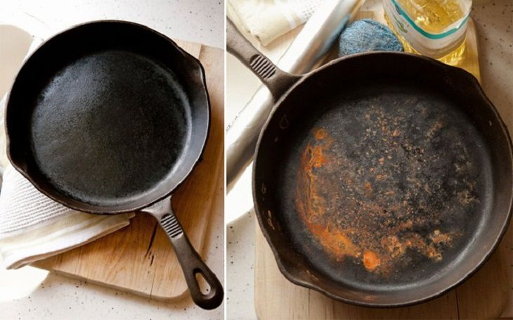 טיפים להסרת כתמים ממוצרים בבית: מחבת יצוקה לפני ואחרי ניקיון