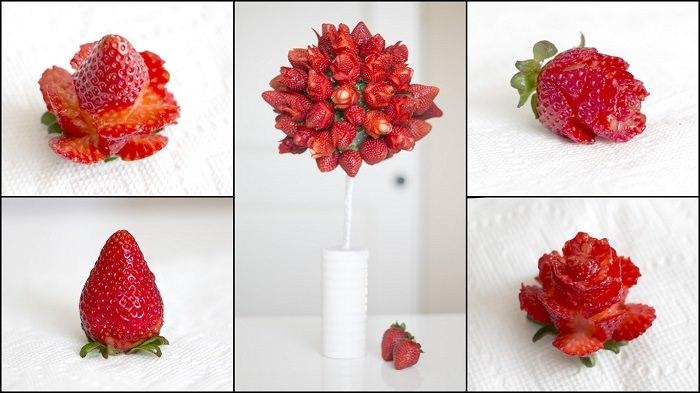 מתכונים בצורת פרחים: קישוט תותים
