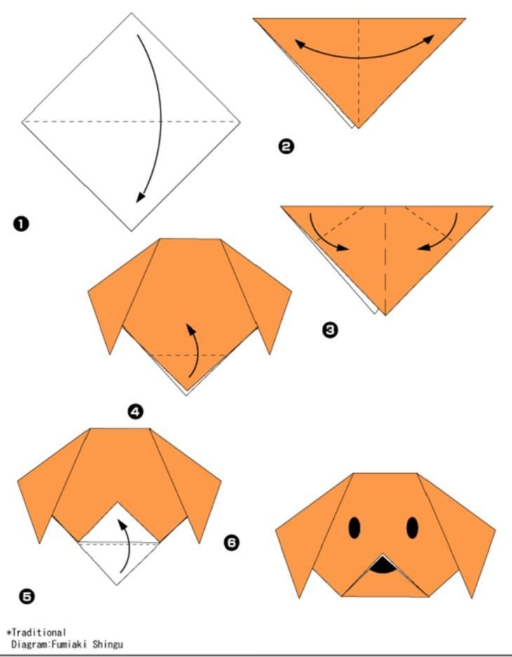 רעיונות מדליקים ליצירת אוריגמי: שלבי הכנת כלב באוריגמי
