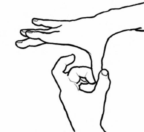 ריפוי באמצעות תנועות הידיים: לחיצה על האגודל