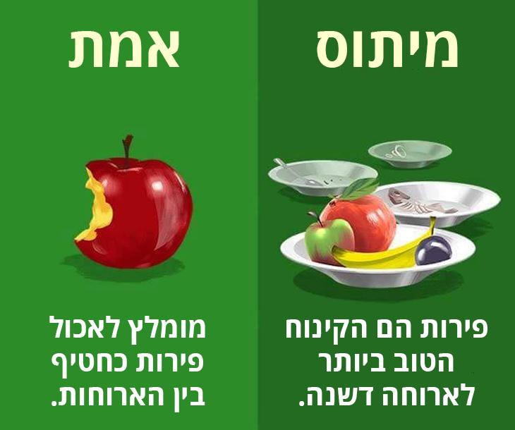 מיתוסים שגויים בנושא בריאות: מומלץ לאכול פירות כחטיף בין הארוחות ולא כקינוח בסוף הארוחה