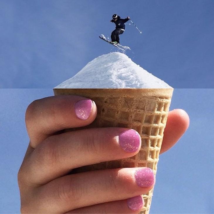 גולש סקי על גביע גלידה