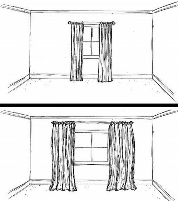 ההבדל בין וילון עם מוט צר לווילון עם מוט רחב