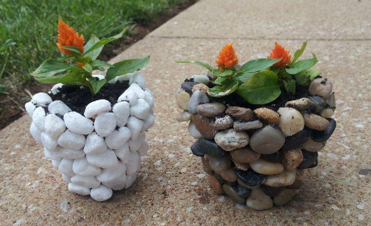 יצירות שאפשר להכין מאבנים: אדניות