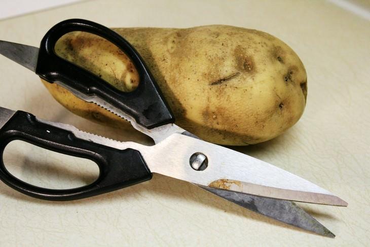 שיטות להסרת חלודה בעזרת מוצרים שיש בכל בית: מספריים חלודים ליד תפוח אדמה