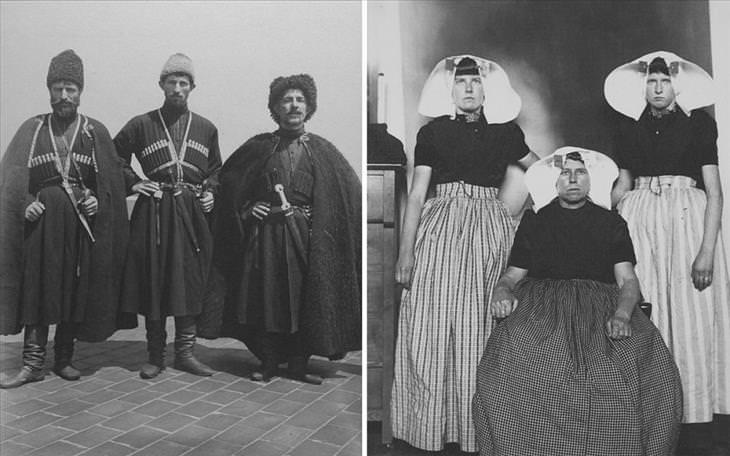 נשים עם מטפחות לבנות גדולות על ראשן ושמלות וגברים עם חרבות וגלימות מפוארות