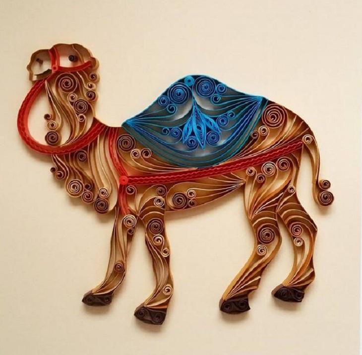 יצירות אומנות קווילינג של גרגנה פנצ'יבה: גמל