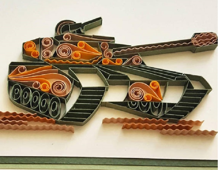 Квиллинг открытка танк