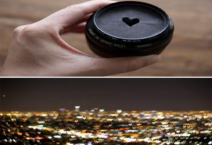 טריקים ליצירת אפקטים בצילום: צילום אור באמצעות קרטון עם צורה גזורה בו