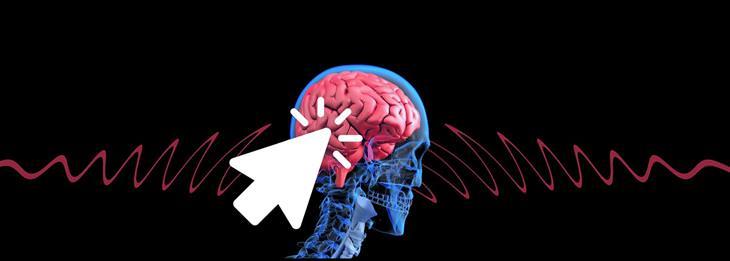 הטיות קוגניטיביות: איור של פני אדם ברנטגן, וסמן של עכבר לוחץ על המוח