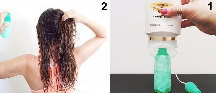 טיפים לעיצוב וטיפוח השיער: מילוי בקבוק במרכך ומים והתזת התוצר על שיער