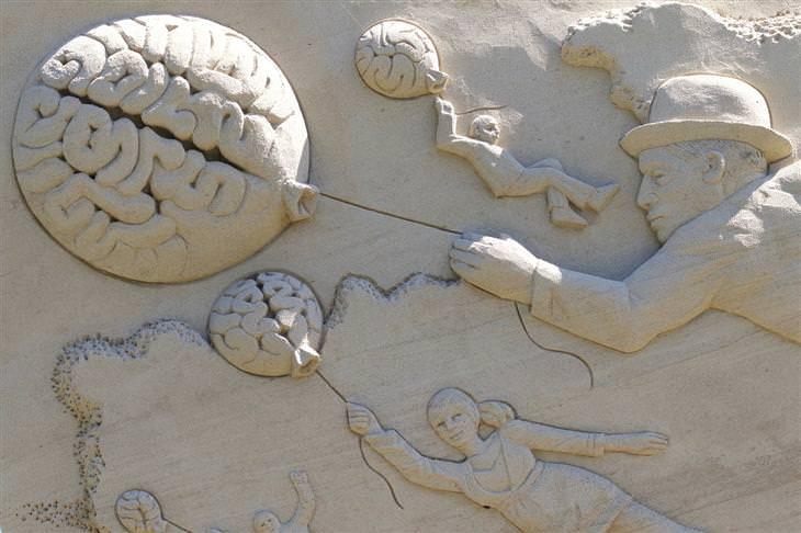 תיאוריות פסיכולוגיות שישנו לכם את החיים: ציור בחול של אנשים עפים באוויר עם בלונים בצורת מוח