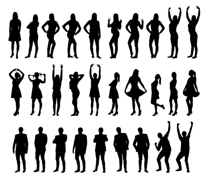 איך להיות ברי מזל בחיים: צלליות של גברים ונשים אחת מעל השנייה