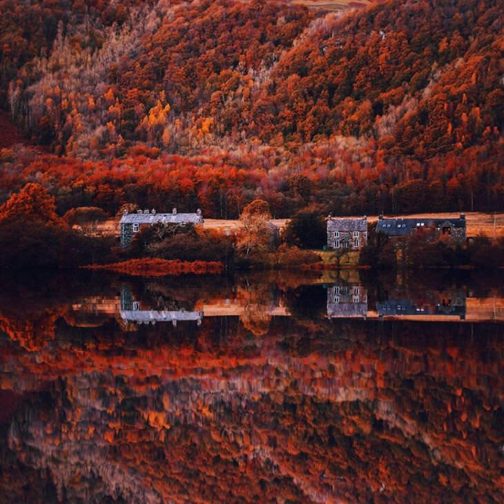 סתיו ברחבי העולם: אזור האגמים בלונדון - בתים לצד אגם