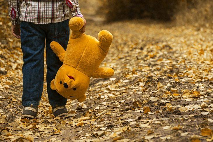 דברים שחשוב ללמד ילדים להיזהר מהם: ילד מחזיק בדובי בתוך מרבד עלים