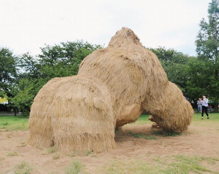פסטיבל ווארה, יפן , לפסלי חיות העשויים מגבעולי קש אורז: פסל גורילה מאחור