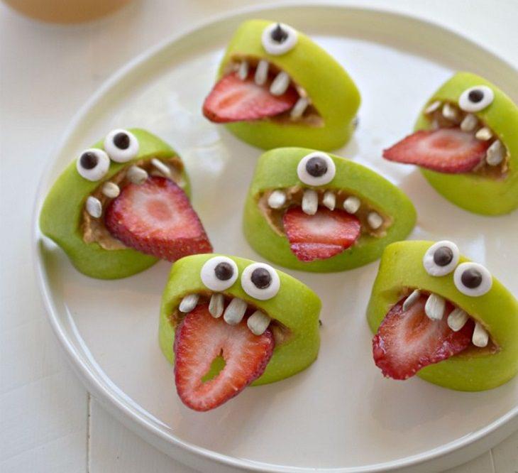 הצעות הגשה לאוכל בריא לילדים: מפלצות מתפוחים, תותים, גרעיני חמנייה וחמאת בוטנים