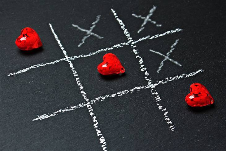 ארבעת סוגי האוהבים: לוח איקס עיגול שבו הלבבות מחליפים את העיגולים