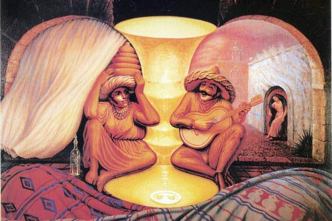 אשליה אופטית שבה שני קשישים מביטים זה בזו עם אלמנטים נוספים סביבם