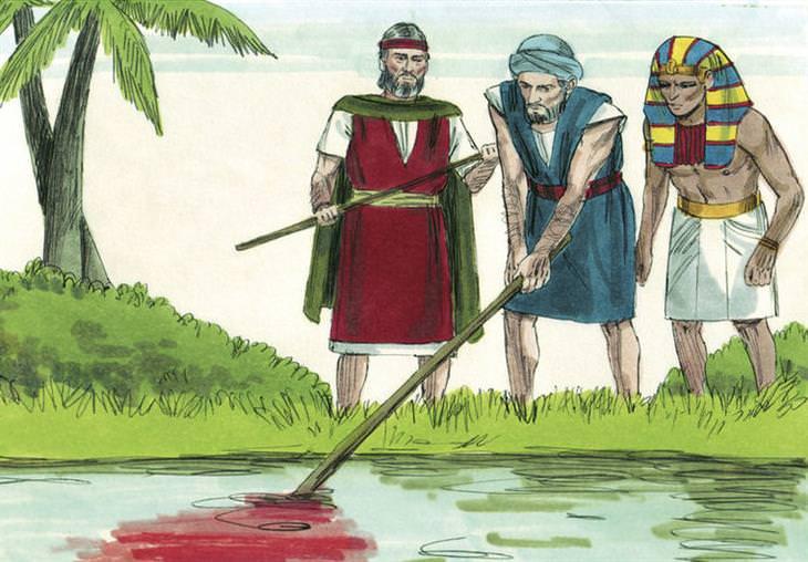 עדויות והסברים לסיפורי התנך: איור של מצרים בודקים את מי הנילוס האדומים