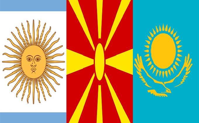 דגליהם של ארגנטינה, מקדוניה וקזחסטן