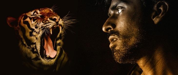 סימנים לכך שאתם בעלי חוסן מנטלי: אדם מביט אל לועו של נמר שואג