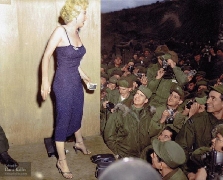תמונות היסטוריות: מרלין מונרו בבסיס צבא אמריקאי בקוריאה