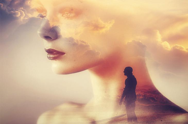 """אשליות בחיים: צללית של אדם """"בתוך"""" צוואר של אישה שפניה משתלבים עם השמים"""