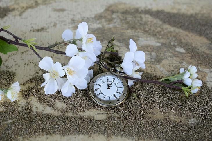 עצות חכמות של אב שאיבד את בנו: פרחים מונחים על חול לצד שעון כיס