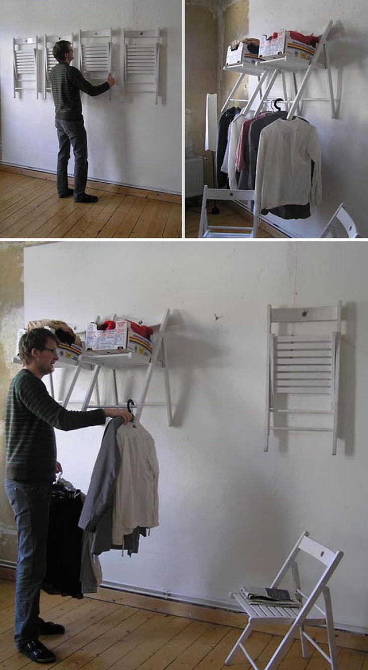 טיפים טיפשיים אך יעילים: גבר תולה כיסאות ויוצר מדפים מהם