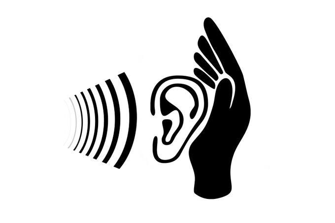 איור של יד פתוחה שבתוכה אוזן וגלי קול