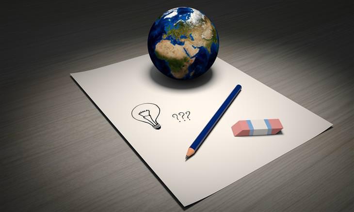 חידות לילדים: דף ועליו עיפרון, מחק, כדור הארץ וסימני שאלה