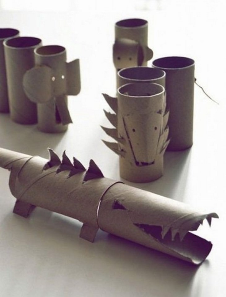 חיות מגלילי נייר טואלט ריקים
