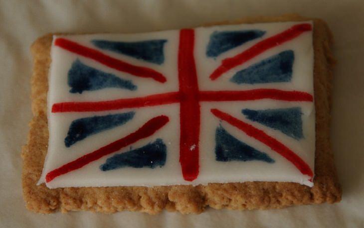 עוגיה עם איור של דגל אנגליה