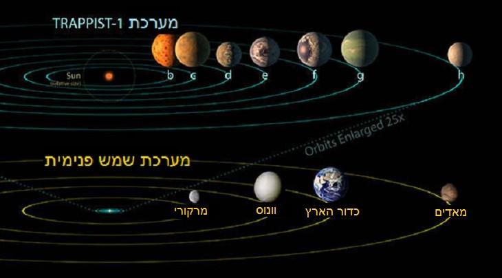 איור של מערכת טארפיסט 1 ושל מערכת השמש של כדור הארץ