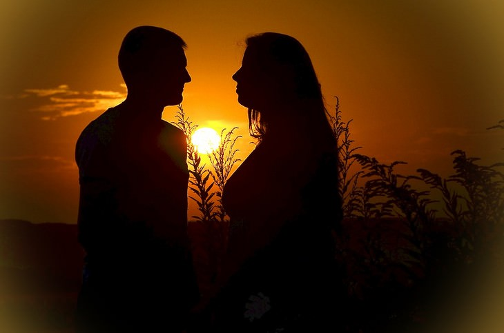 צללית של זוג בשדה על רקע שקיעה